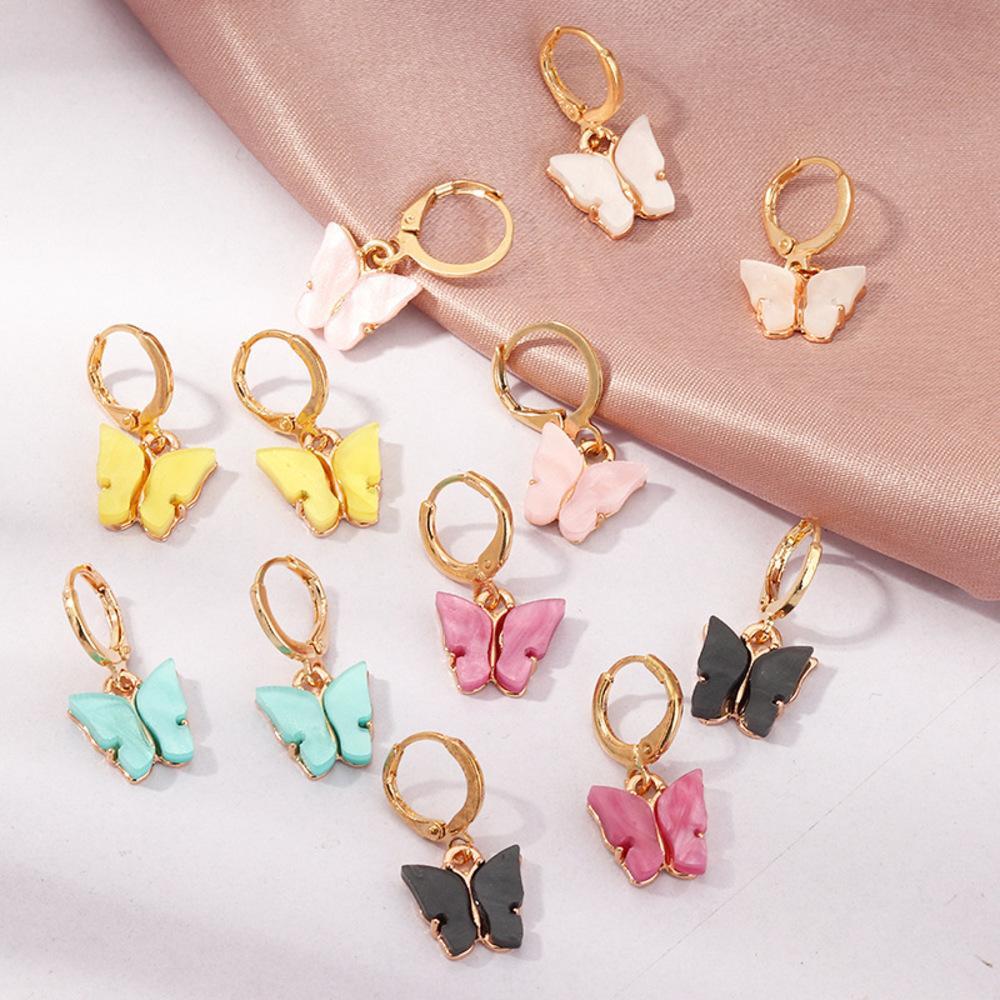 Kadın Kelebek Moda Sevimli Damla Küpe Saplama Renk Akrilik Hoop Küpe Hayvan Tatlı Renkli Dangle Küpe Kızlar Takı Hediye