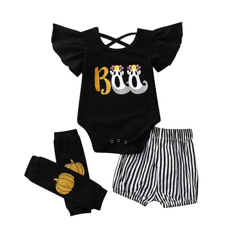 Halloween Baby Girls Outfits Newborn Clothing Sets Infant Clothes Printed Striped Romper Shorts Leg Warmers 3Pcs Toddler Costume B8473
