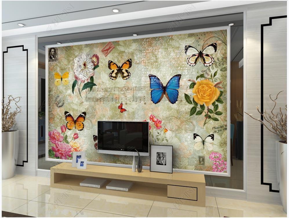 Fondo de pantalla de fotos personalizado Murales 3D Murales Fondos de pantalla Europea Retro Pastoral Flor Mariposa Restaurante Bar Bar TV Fondo Papeles de pared Decoración del hogar