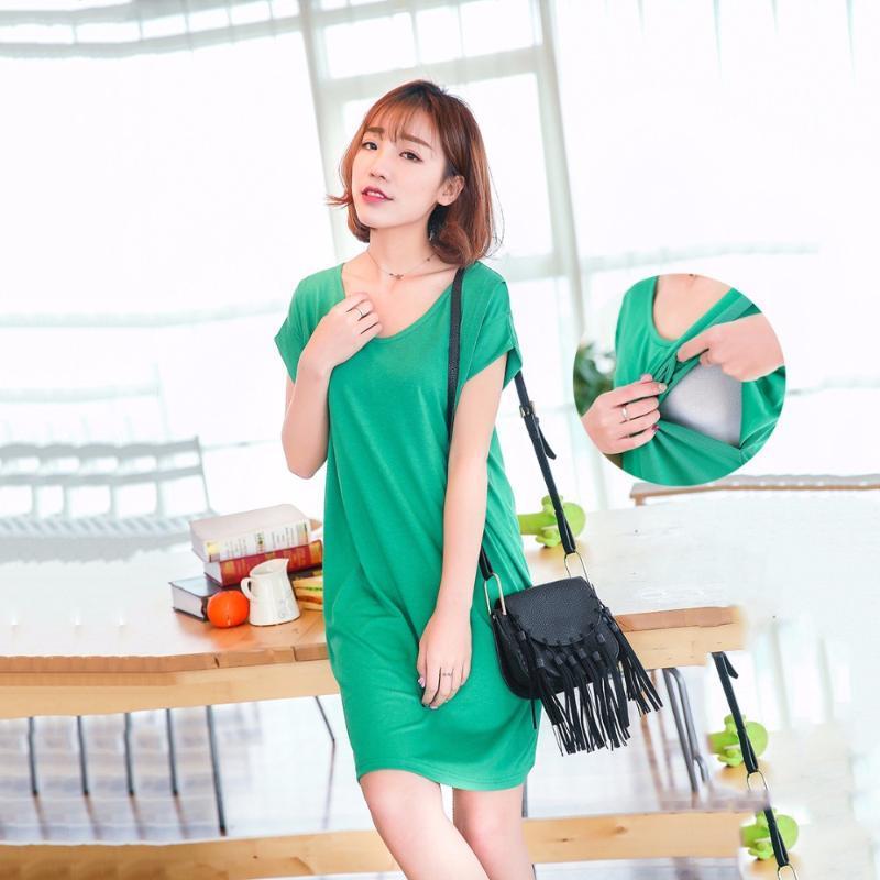Летнее повседневное платье для беременных чистого цвета с коротким рукавом для беременных платье для беременных