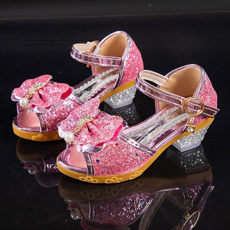 Niñas Sandalias Verano Nuevos Niños Princesa Zapatos Niñas Little Girls High-Tait-Knot Sandalias de Cristal Sandalias Partido Vestido Boda 210301