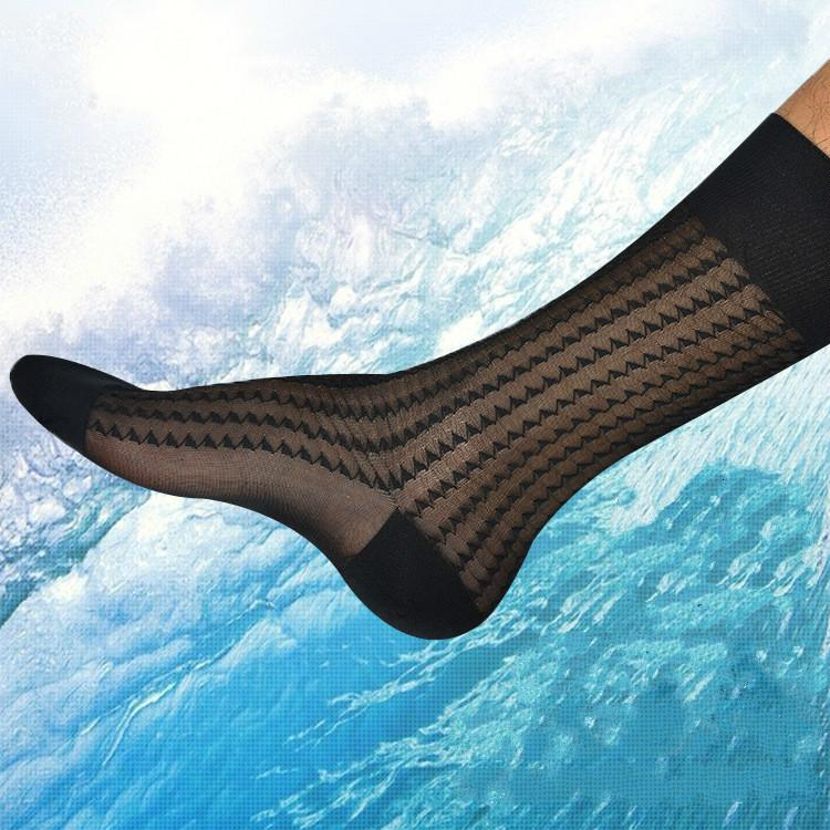 Ice Cream Ultra Dunne Men Business Thin Erotic Formula Sexy Sheer Transparent Socks