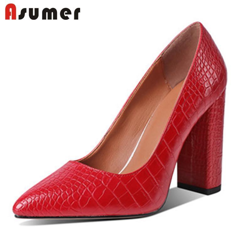 Обувь платье Asumer 2021 Европейский стиль толстые высокие каблуки одиночные женщины вечеринка свадьба заостренный носок классические насосы красные