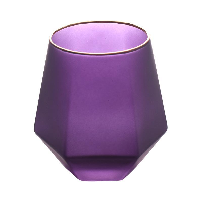 اللون الإبداعي متجمد ستة من جانب الويسكي نظارات أرواح الزجاج المنزلي بنوم بنه المياه عصير الزجاج كأس الماس الزجاج