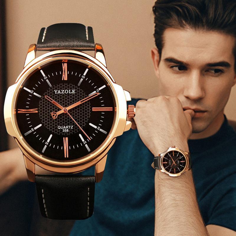 YAZOLE Mens Watches Top Brand Luxury Men Watch Fashion Leather Men's Watch Unique Design Clock erkek kol saati relogio masculino C0227
