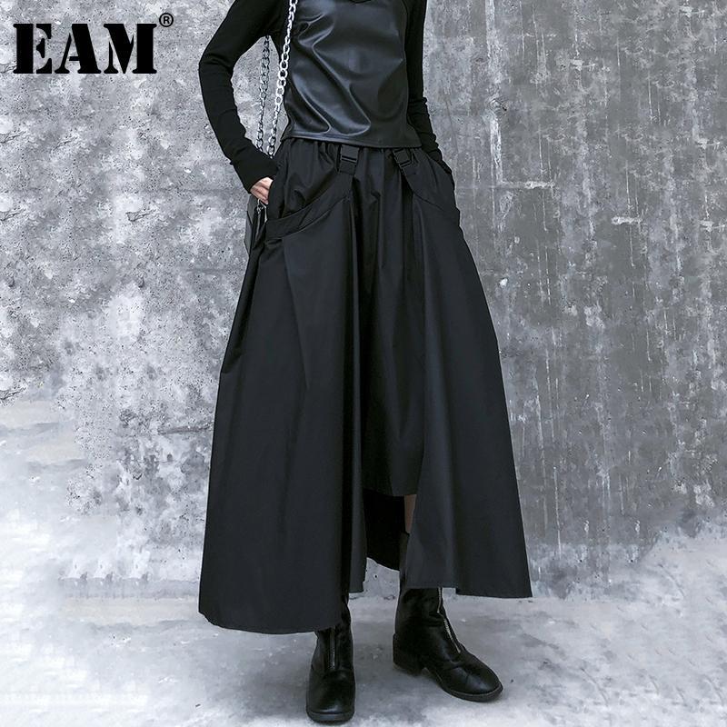 [Eam] Alta cintura elástica fivela preta fivela conjunta junta irregularhalf-corpo saia mulheres moda maré novo primavera outono 2021 210305