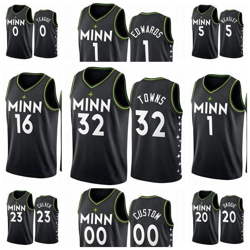 MinnesotaTimberwolvesMänner Karl-Anthony Malik Beasley Towns 2020/21 Swingman City Basketball Jersey schwarz Neue Uniform