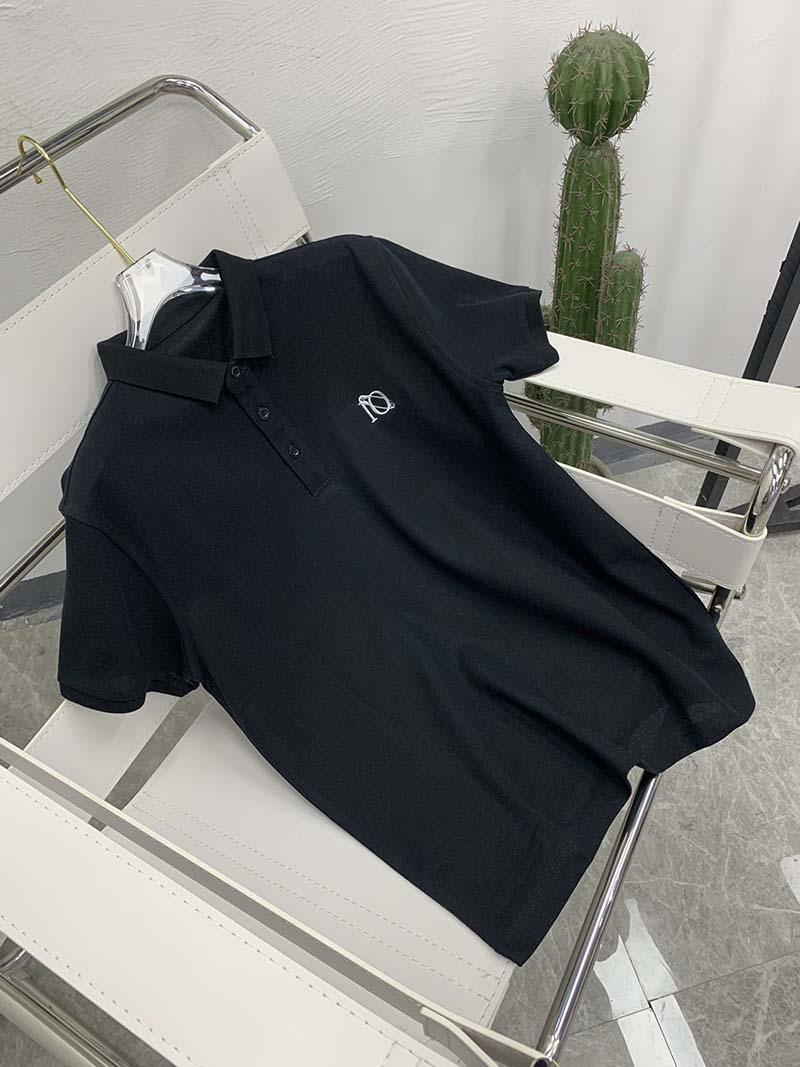 21SS Mens Tee T Shirt Pin Ricamo Chesto Lettere Uomo Vestiti Manica corta Manica Mens Camicie Tag Lettere Polo Nuovo nero Bianco 07