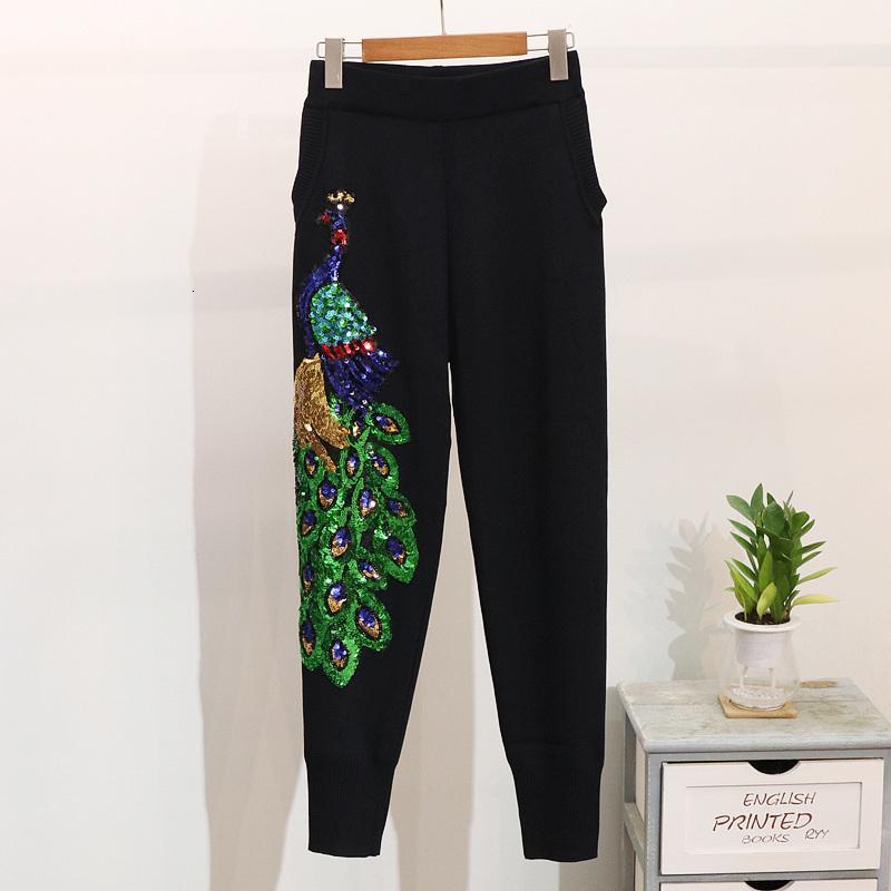 Осенняя мода черный вязальный костюм женщин комплекты блестки павлин свитер длинные брюки 2 частей набор женский повседневный вязаный трексуил 2 шт. Ln5i