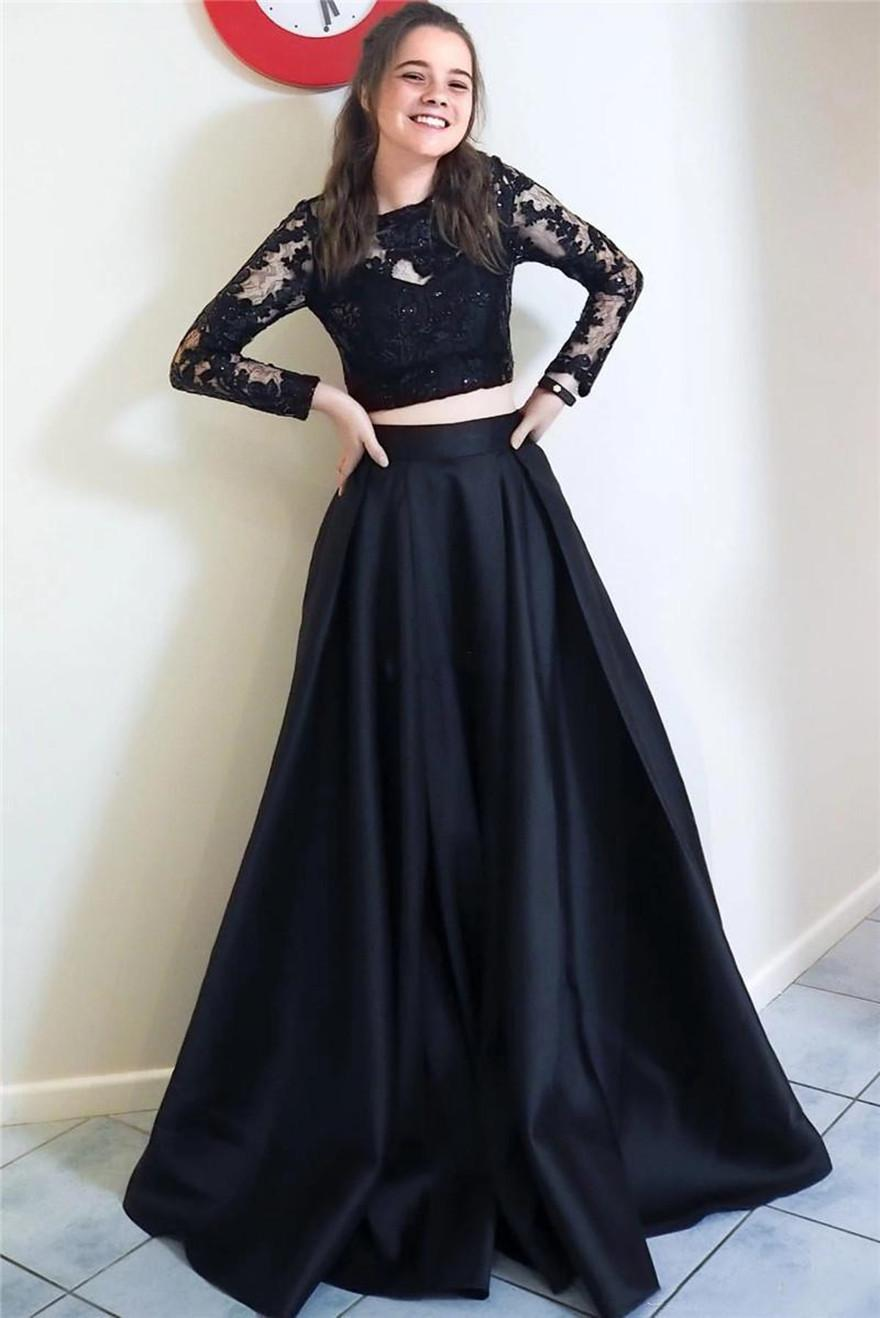 Two Pieces Evening Dresses Crew Neck Lace Long Sleeevs Prom Party Gowns A Line Satin Bride Special Occasion Vestidos De Fiesta