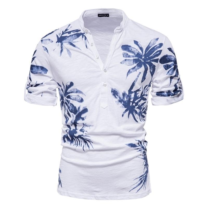 Aiopeson Hawaii Tarzı T-shirt Erkekler 100% Pamuk Orta Kollu erkek T Shirt Yaz Kalite Rahat Baskılı Tee Gömlek Erkek 210719