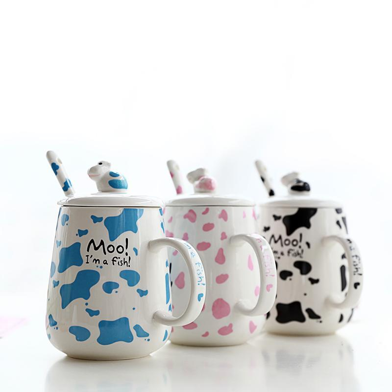 Mugs Selling Cartoon Ceramic Mug With Cover Spoon 500ML Large Capacity Milk Cup Lovely Breakfast Schoolgirl