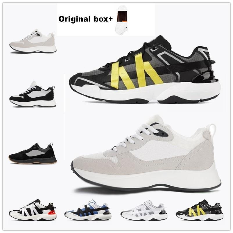 [AVEC BOÎTE] 2021 Best B25 B24 Runner oblique Sneaker Hommes Plate-forme Chaussures Platefilles Designers Noir Blanc En Cuir En Cuir Mesh Lace-up chaussures décontractées