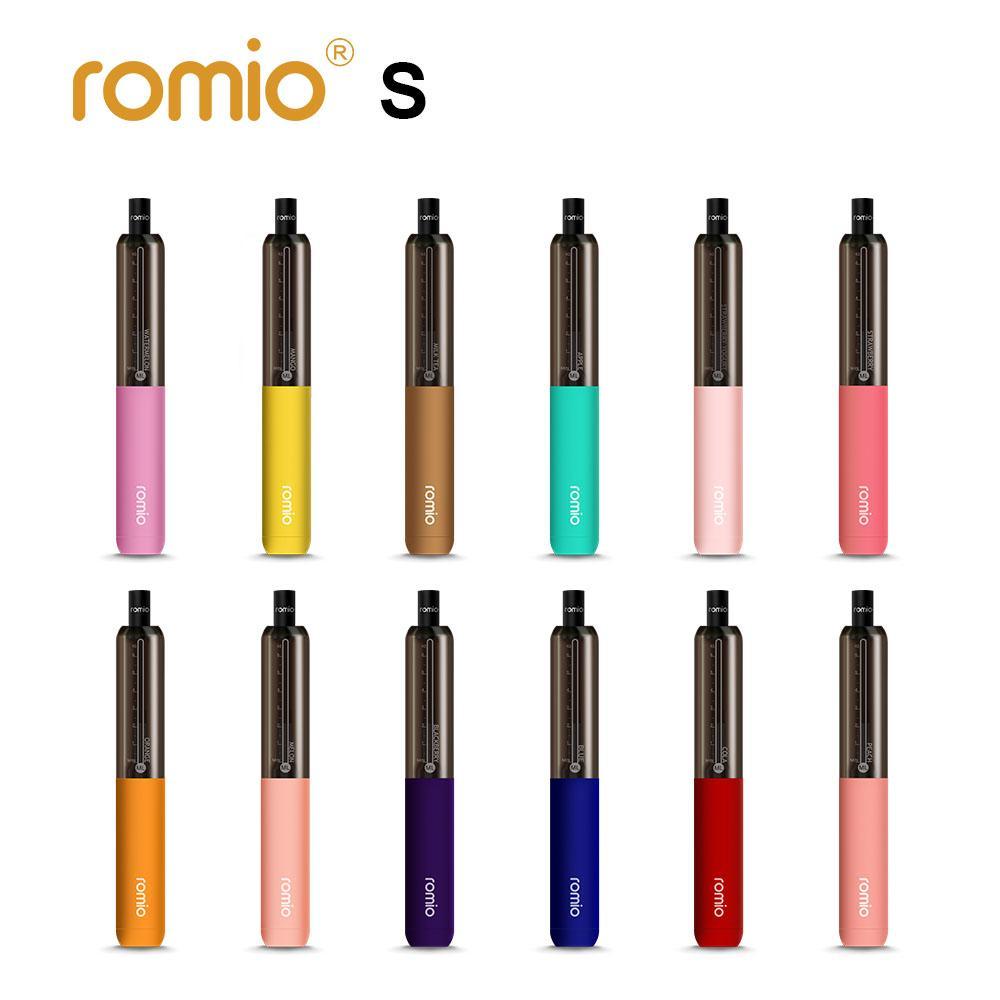 Original Romio E Zigarette Einweg Vapes 2000 Puffs 6,5ml Pod Kapazität 12 Farben Puffstangen 450mAh Batterie 100% dicht auslaufend Vape Stift 1.2Ohm Mesh Cowe Ecig Ecigarette