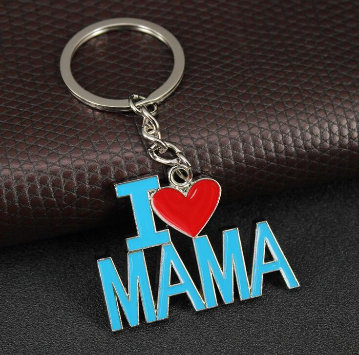 Brand new Gift giveaway key chain i love dad i love mom letter keychain DMKR017 mix order Key Rings