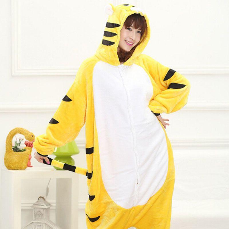 Gelber Tiger Flanell Herbst und Winter Cosplay Cartoon Tiere Pyjamas für Frauen Erwachsene Kapuzenpyjama-Sets
