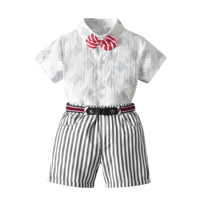 مجموعات ملابس الاطفال الفتيان الدعاوى الأطفال يتسابق الصيف القوس القوس قصيرة الأكمام التعادل طباعة قميص حزام مخطط السراويل السراويل السراويل رجل نبيل B7055