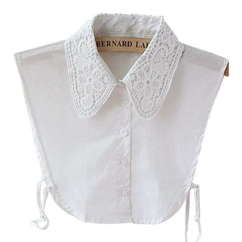 Hals Krawatten Frauen Reine Farbe Spitze abnehmbarer Revers Choker Halskette Hemd Fake False Collar
