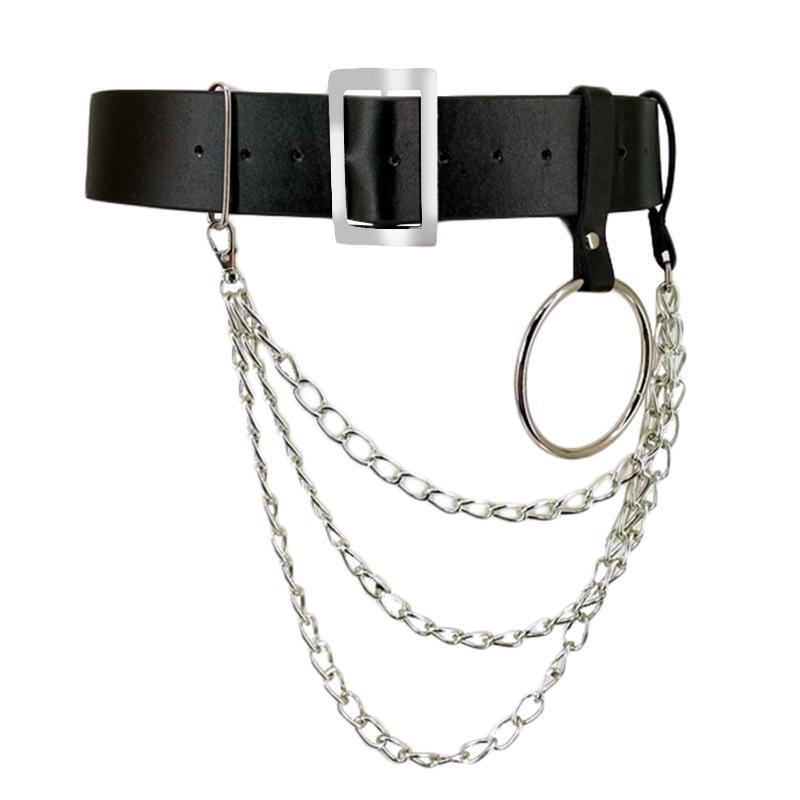 Cinturones Mujeres PU Cuerpo de cuero Cuerpo con cintura de cadena Lujas de esclavitud Punk ajustable tirantes correas