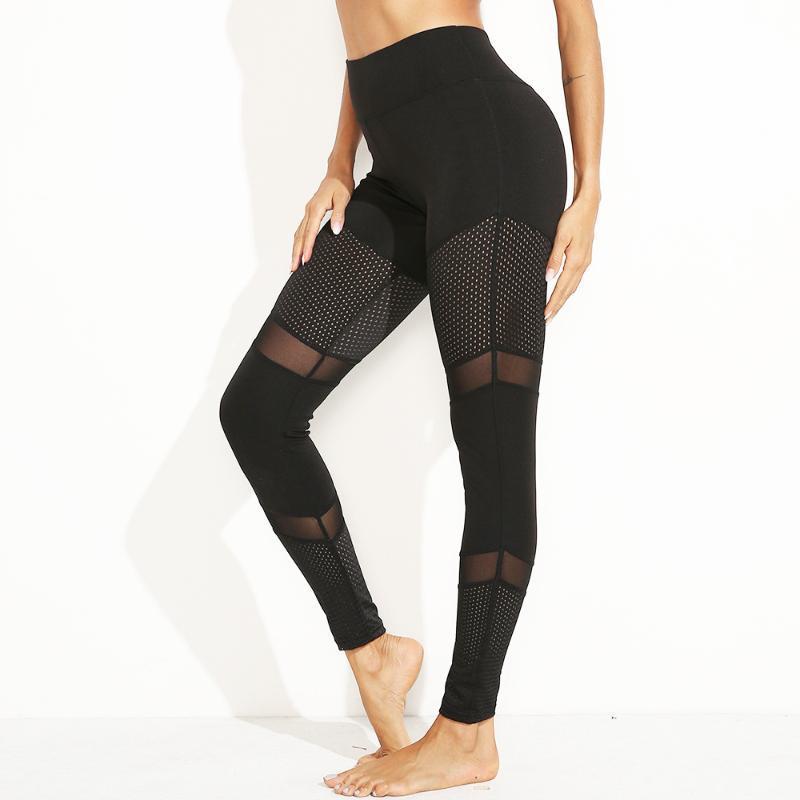 Hollow Out Mesh Gym Leggings Femmes Sportswear Pantalon de Yoga Haute Taille Solitis Pantalon Exercice Noir Solitis pour Femmes Collant Sport Sport
