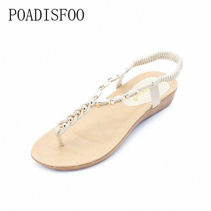 Ltarta Women S New Summer Bohemian Sandalias de cuentas con cuentas para mujer Toe Roman Shoes 36 40 yardas .HYKL 8801 Zapatos de oro para hombre zapatos casuales de P96T #