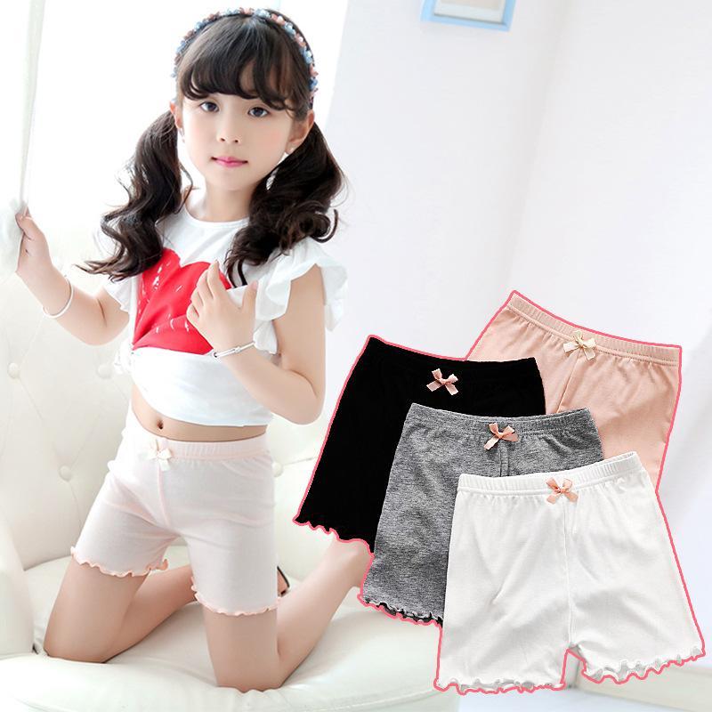 Ücretsiz DHL UPS Ins Çocuk Kızlar Pamuk Beyaz Siyah Şort Yaz Sonbahar Moda Yay Kısa Tayt Kızlar Için Güvenlik Pantolon Çocuk Kısa Tayt