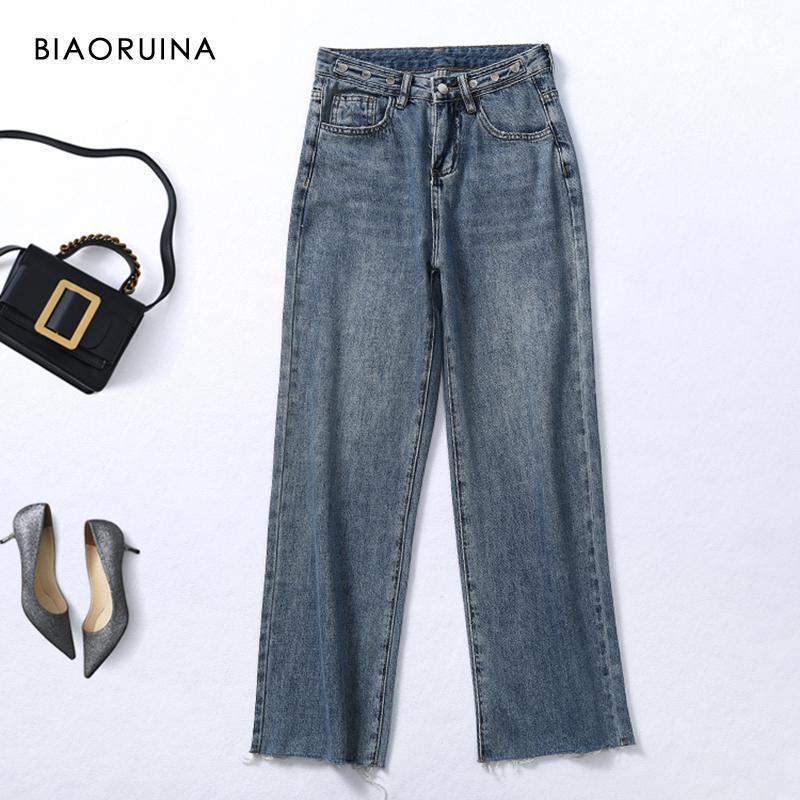 Женские джинсы Biaoruina женщин повседневная стиральная белка с высокой талией прямые пряжки женские ретро свободные широкие ноги моды