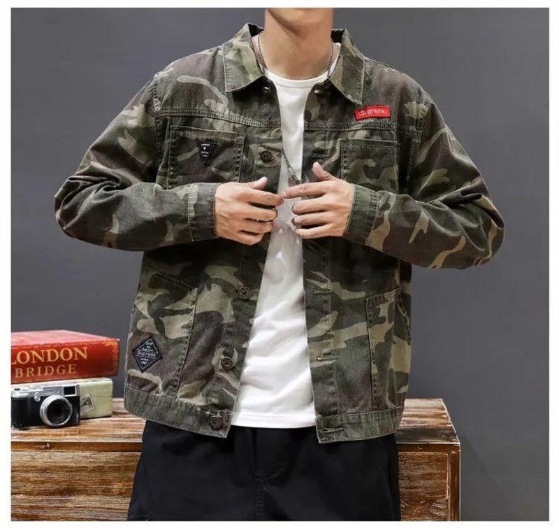 Brand Denim Denim Primavera e Autunno Ins Moda coreana Casual Camouflage Tooling Tooling Giacca sottile versatile