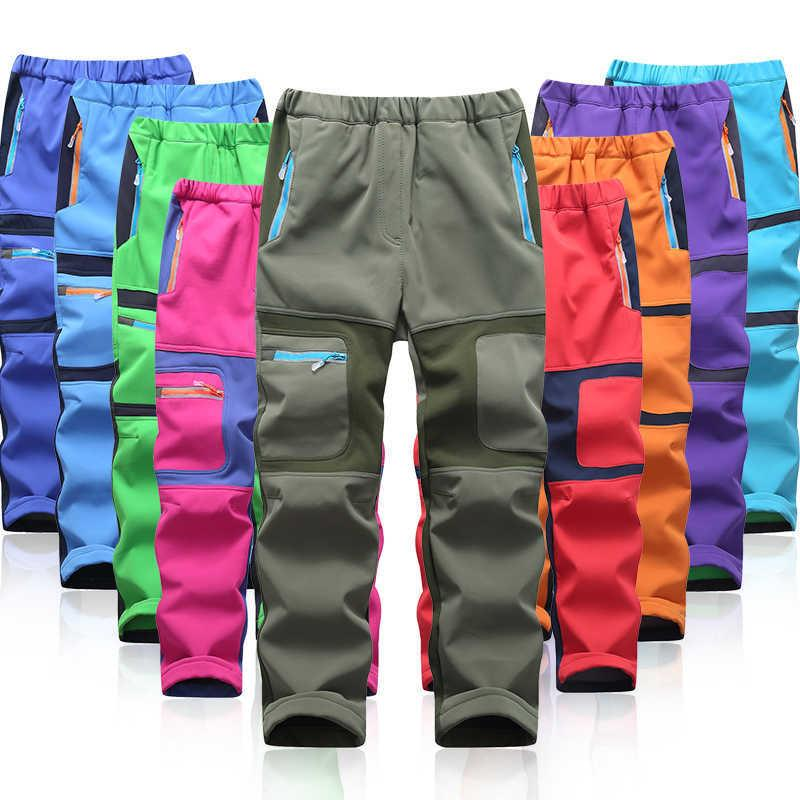 Mode marke wasserdichte junge mädchen kinder hosen warme hosen sportliche klettern leggings kinder patchwork weiche shell outfits herbst