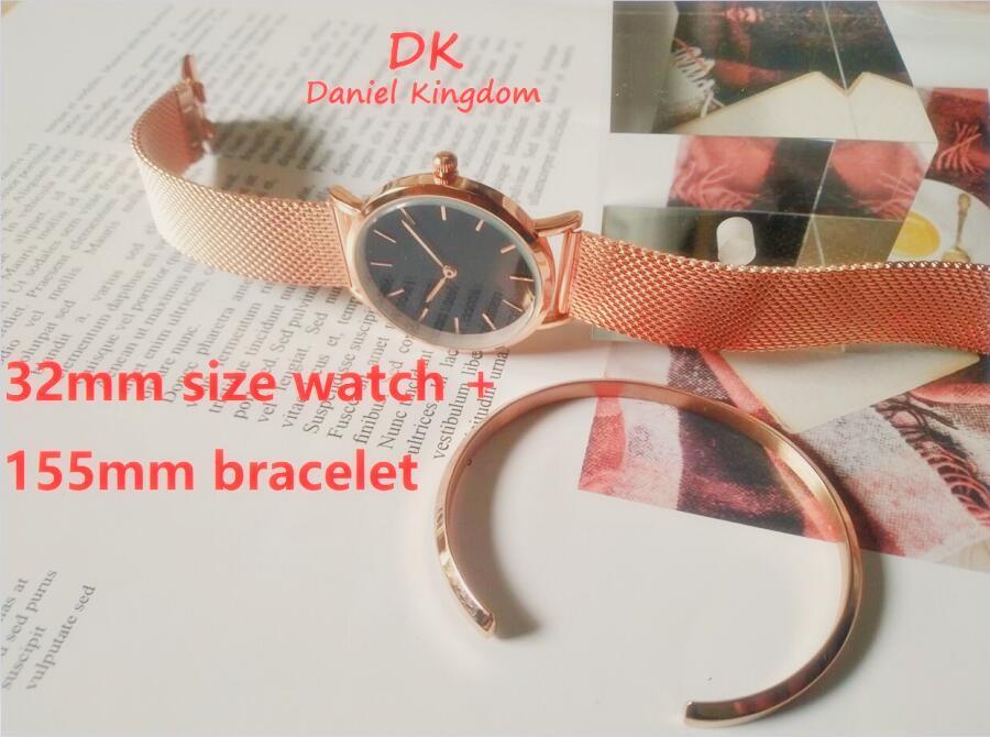 새로운 32mm 로얄 시계 여성 팔찌 스테인레스 스틸 케이스 쿼츠 손목 시계 고품질 시계