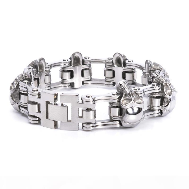 Personality Punk Titanium Steel Skull Biker Bicycle Chains Bracelets Exaggerated Wristbands Bangle Trenyd Jewelry Brace lace High Polished