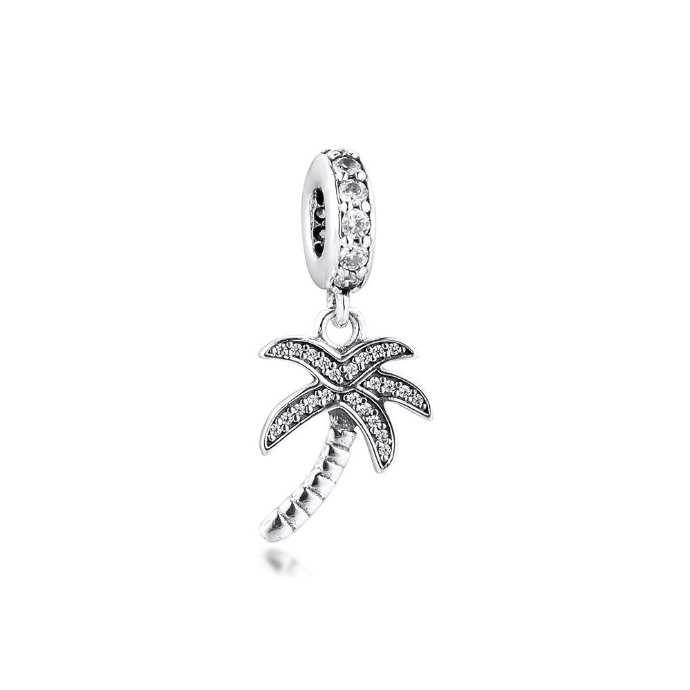 New 100% 925 Sterling Silver Original Beads Palm Tree Charm DIY Jewelry for Women Fits Pandora European Charms Bracelet