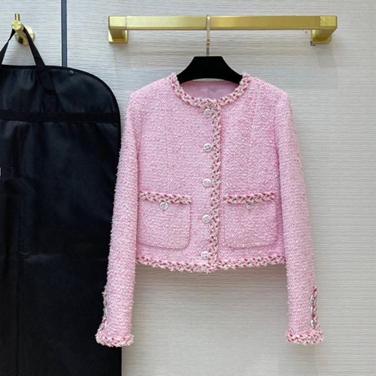 유럽 및 미국 여성 2021 겨울 새로운 컬렉션 긴 소매 핑크 싱글 브레스트 버튼 유행 트위드 코트