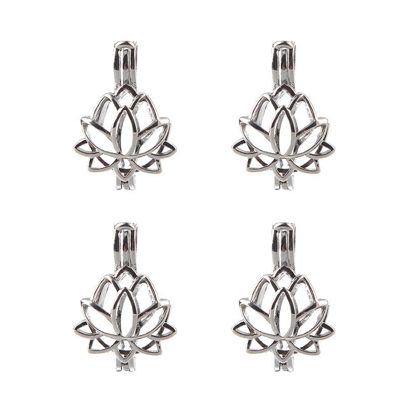 5pcs Couleur Silver Color Lotus Perles Perles Perles Cage Charms LocaRache Huile Essential Diffuseur Bijoux en gros Copper OM Ohm Aum Pendentif C0227