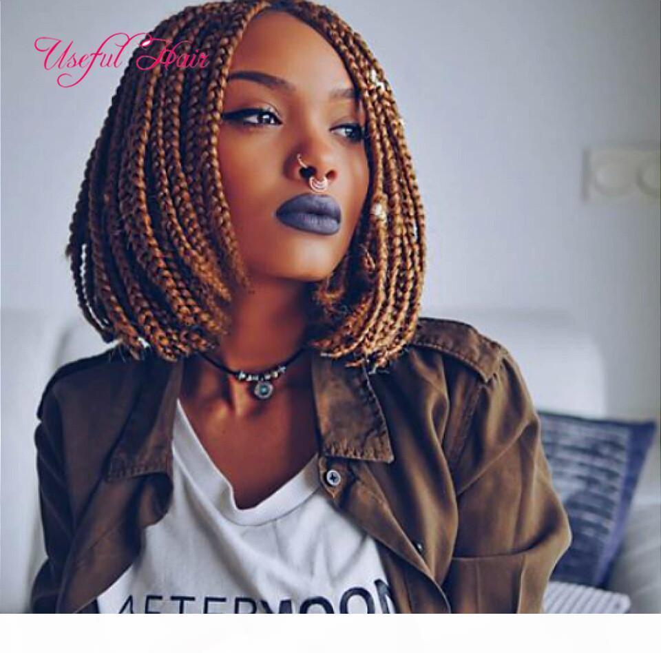 Cheveux synthétiques Bobo Wig Box tresses blonde perruques 6 poumons pour femmes noires Synthetic dentelle avant perruque de dentelle courte perruque frontale