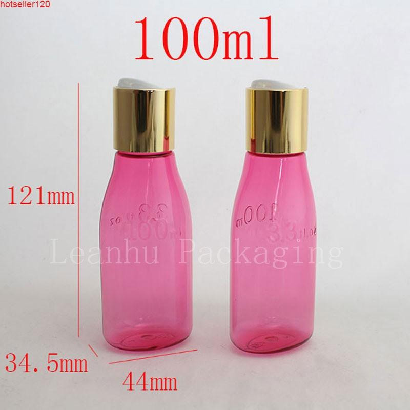 100 ml x 50 Color rojo Redondo Vacío Botella de champú de plástico con disco de oro Tapa superior, 100cc PET PET CUERPA DE CUERPO CHOTTHTHGH MUESTUY