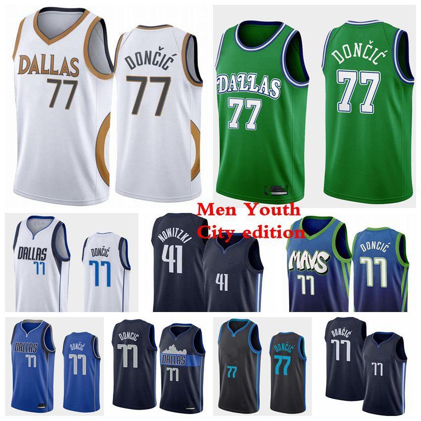 ДалласMavericksMen Kids 77 LUKA 41 Nowitzki Баскетбол Джетки Doncic Kristaps 6 Porzingis Jersey 2021 белый синий черный молодость S-3XL