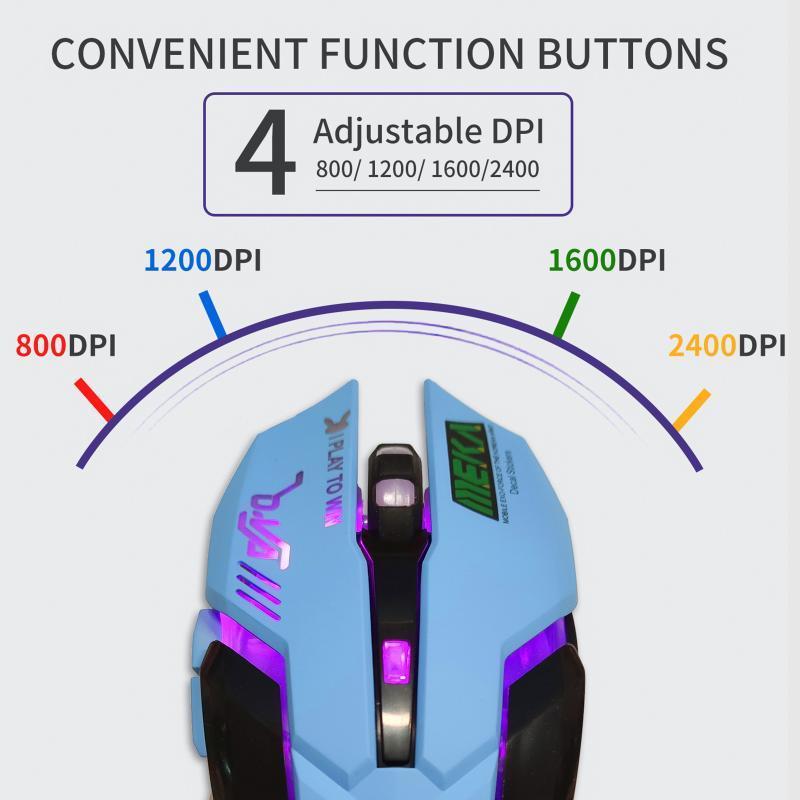 Ratón de la computadora, Ratones ergonómicos de 6 botones con cableado USB, 2400DPI Luz de respiración óptica Ratón de juego para PC, tableta, computadora portátil