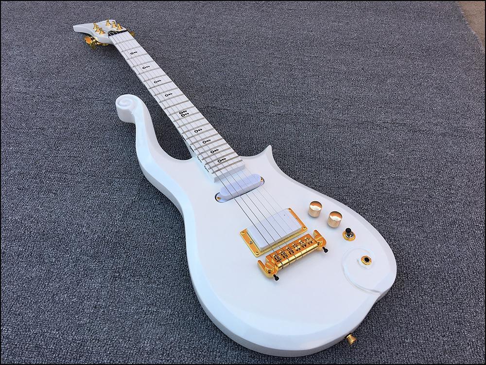 الشحن مجانا! سلسلة الماس الأبيض الأمير سحابة الكهربائية غيتار كهربائي الجسم، الرقبة القيقب، رمز الرمز، التفاف مفتاح الذيل