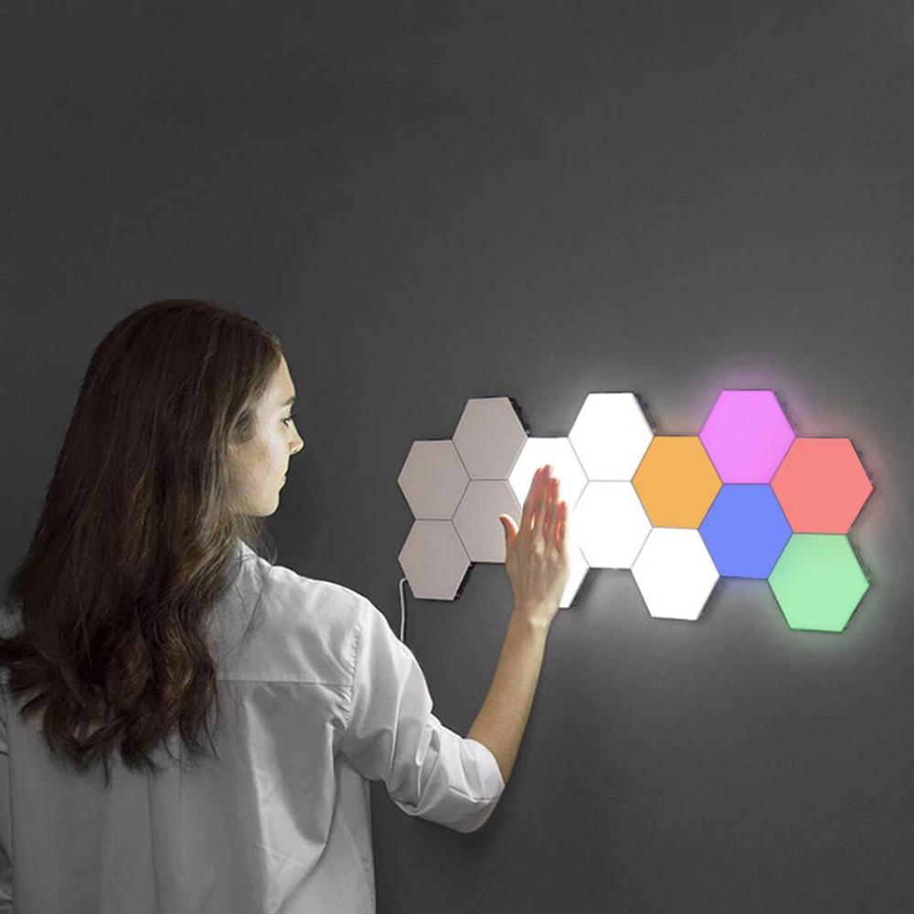 NEW 10pcs Touch Sensitive Wall Light Hexagonal Quantum Lamp Modular LED Night Light Hexagons Creative Decoration Lamp for Home