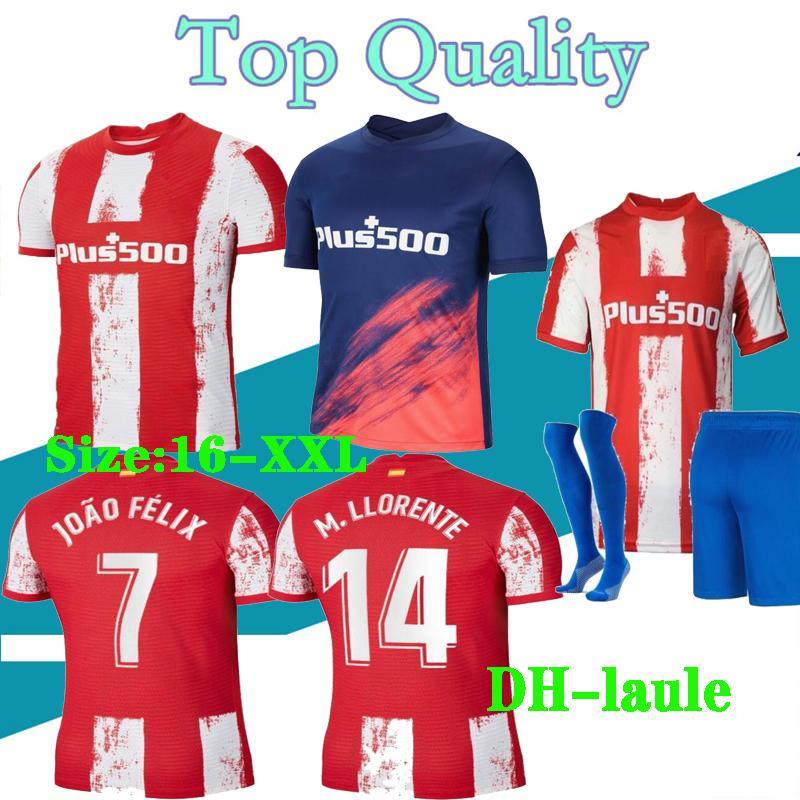 16-XXL 21 22 마드리드 홈 멀리 축구 유니폼 2021 2022 Camisetas de Fútbol 수arez Joao Felix 사울 축구 셔츠 남성 + 키즈 키트
