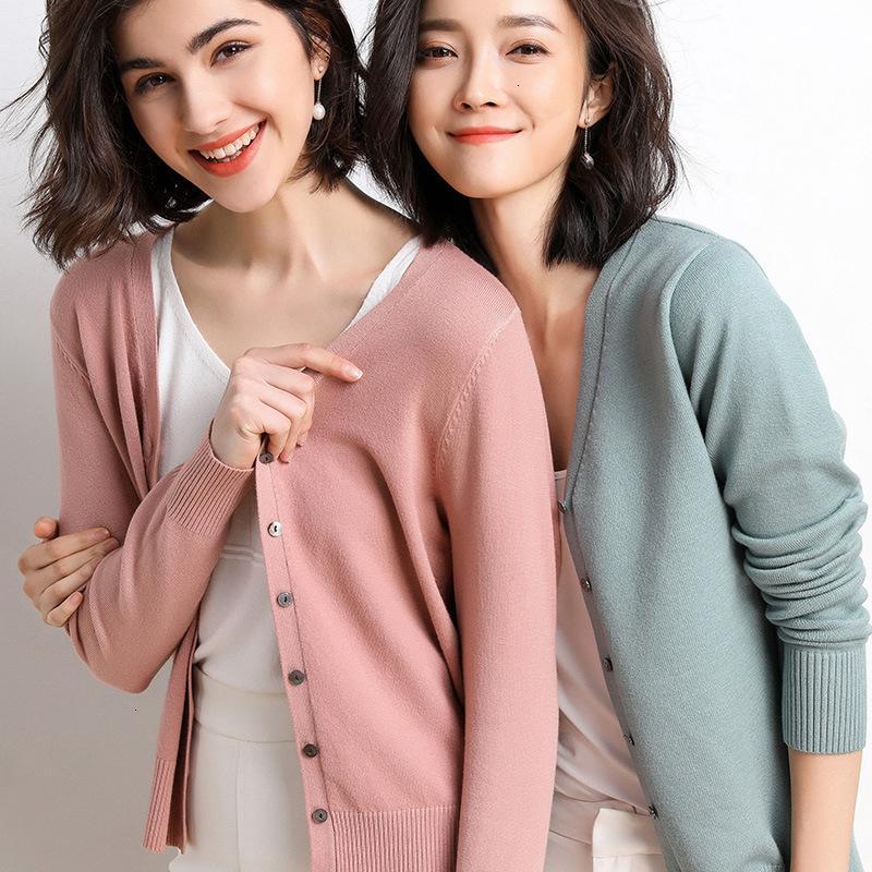 2021 Новый вязаный кардиган Кнопка куртка женская осень V-образным вырезом большого размера с длинным рукавом топы женщины свитер 412 93WS