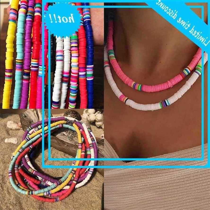 2020 Neue Mode Weiche Keramik Hochzeit Choker Für Frauen Böhmisch Verstellbar Bunte Lehmkragen Halskette Geschenk
