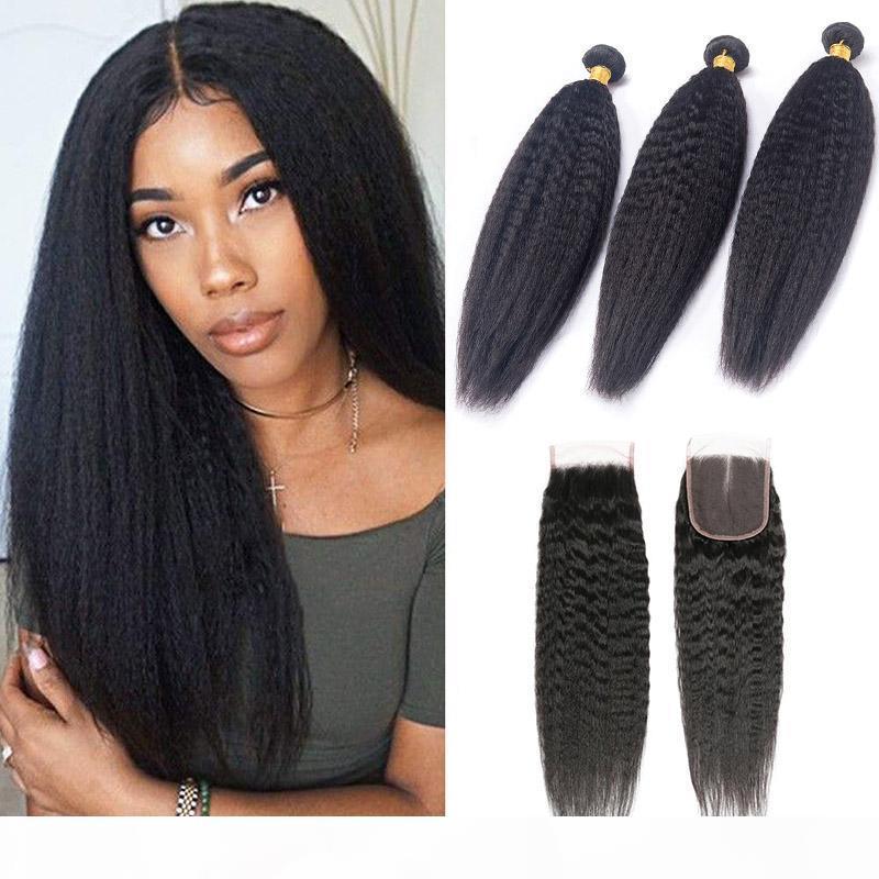 브라질 인간의 머리카락 3 번들 4x4 레이스 폐쇄 킨키 스트레이트 헤어 제품 8-28inch 모발 위사가 폐쇄 자연 색상