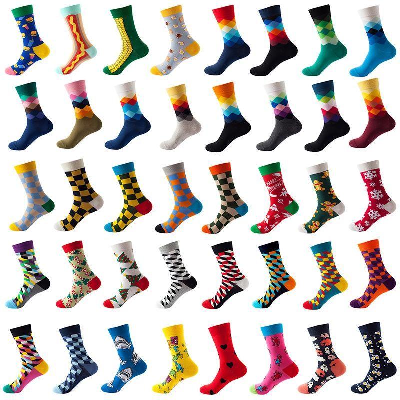 Новинка Мужские носки хлопка Средняя трубка смешные счастливые цветные полосатые клетчатые носки мужские уличные стиль экипаж скейт сумасшедший носок искусства
