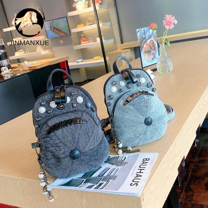 Backpack Women Casual Denim Fashion Crossbody Shoulder Hat Bag Rhinestone Multi-Purpose Messenger Bags Female Handbags