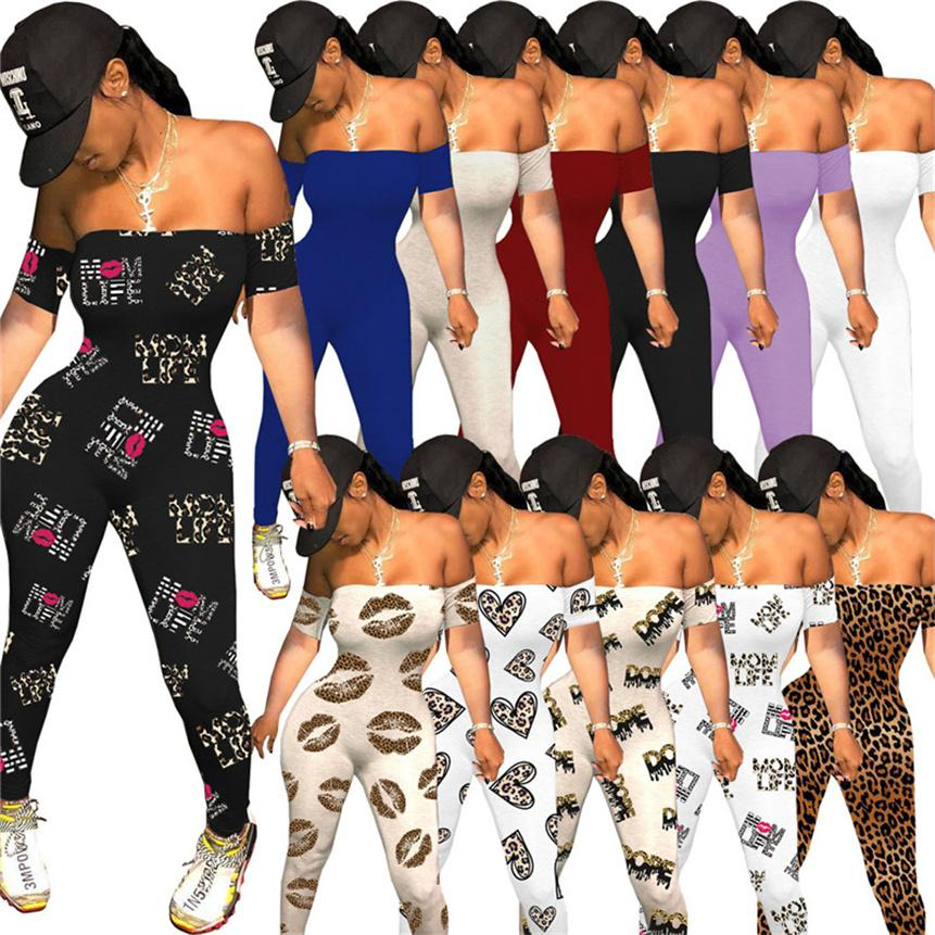 Women sexy Jumpsuits strapless rompers short sleeve print onesie fashion clubwear summer clothes sexy bodysuit skinny one piece pants 4489