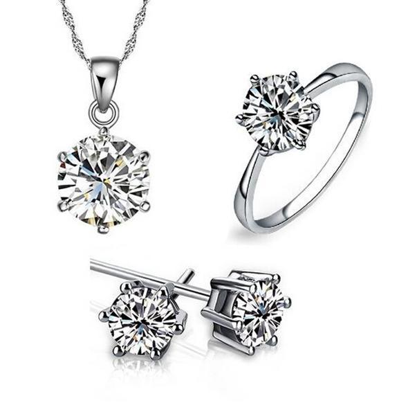 Set di gioielli da damigella d'onore per matrimoni oro 925 sterling argento catene collana pendente orecchino per le donne gemstone anelli set di gioielli festa