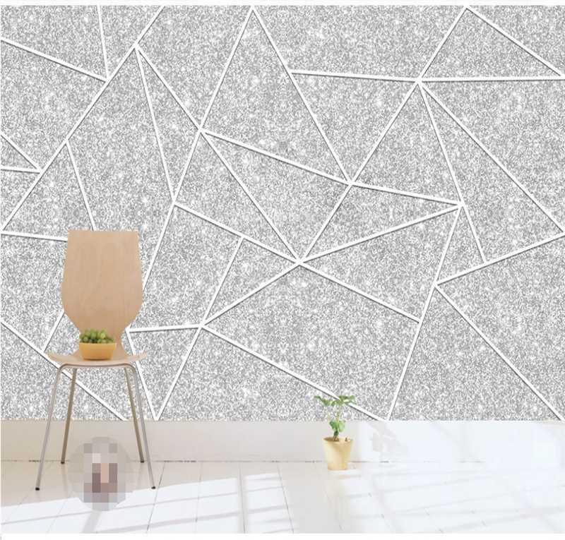 Papier peint personnalisé Mural 3D / 8D Nordic Minimaliste Géométrique Art Silver Art Motif TV Sofa Fond Mur mural Couvre-mur