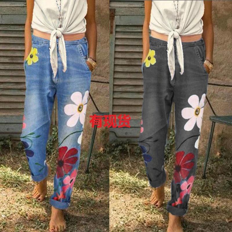 Jeans da donna Geans Wepbel Donne Floral Floral Stampato Denim Pantaloni Pantaloni a vita alta moda moda casual estate